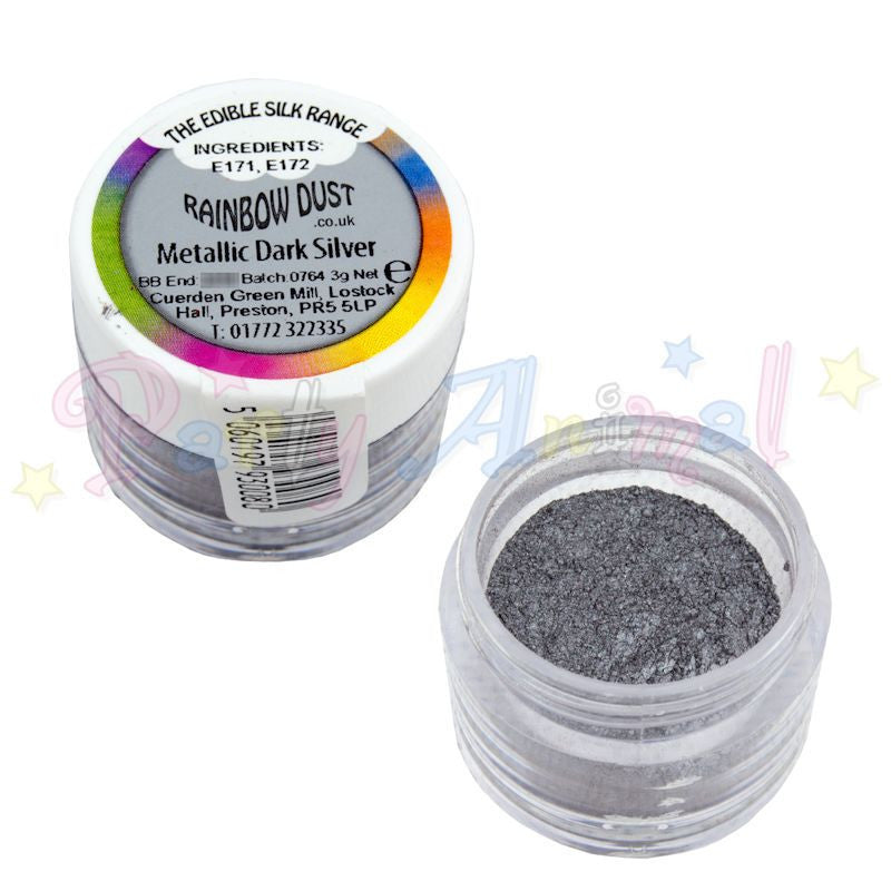 Rainbow Dust  Edible Silk Range - METALLIC DARK SILVER