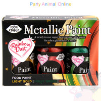 Rainbow Dust Edible Food Paint Set - Light Gold, Holly & Red