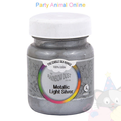 light silver metallic mini bulk. image. rainbow dust. edible. partyanimalonline