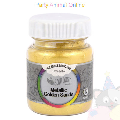 mini bulk. metallic golden sands. edible. cake decorating. rainbow dust. partyanimalonline . image