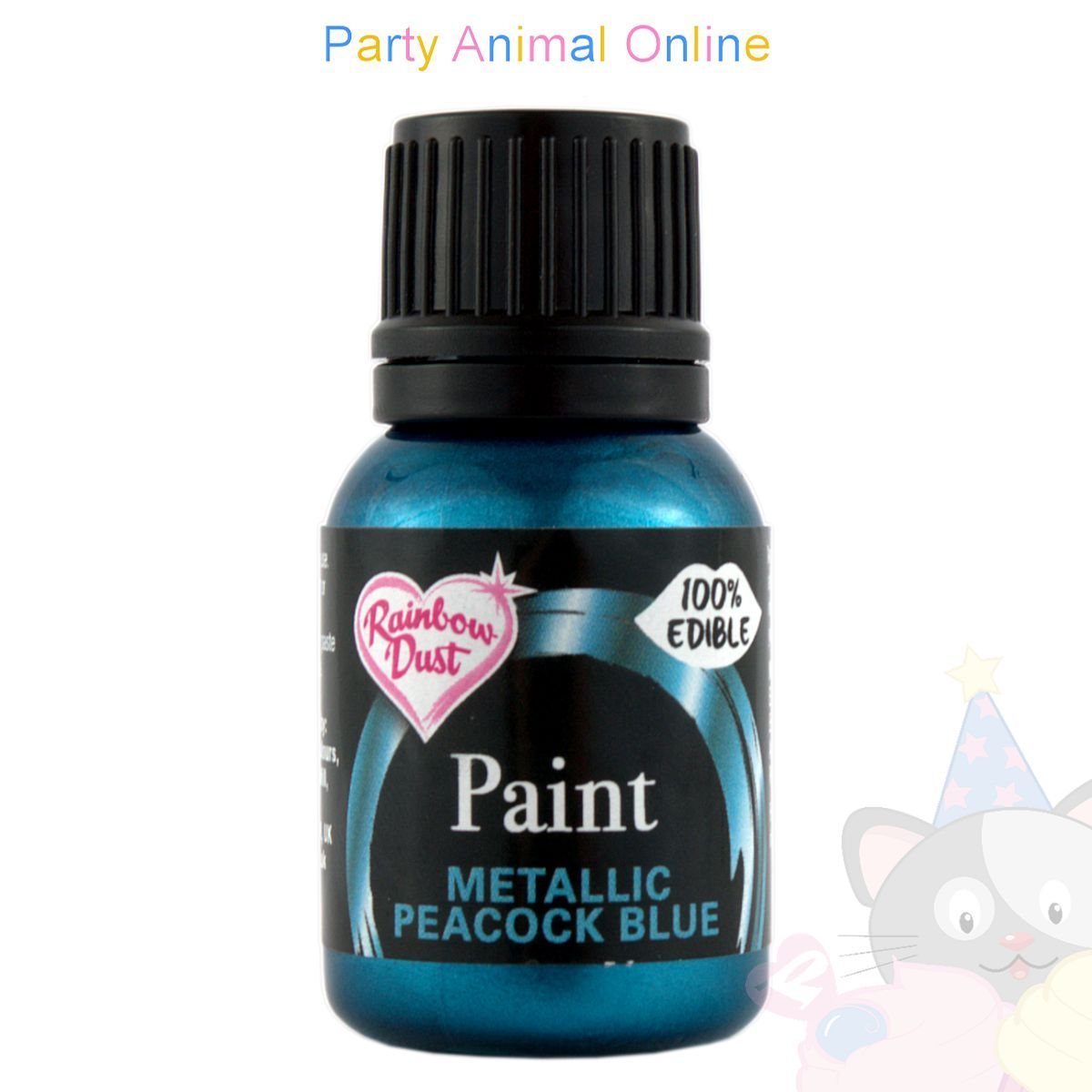 Rainbow Dust Edible Food Paint - METALLIC PEACOCK BLUE