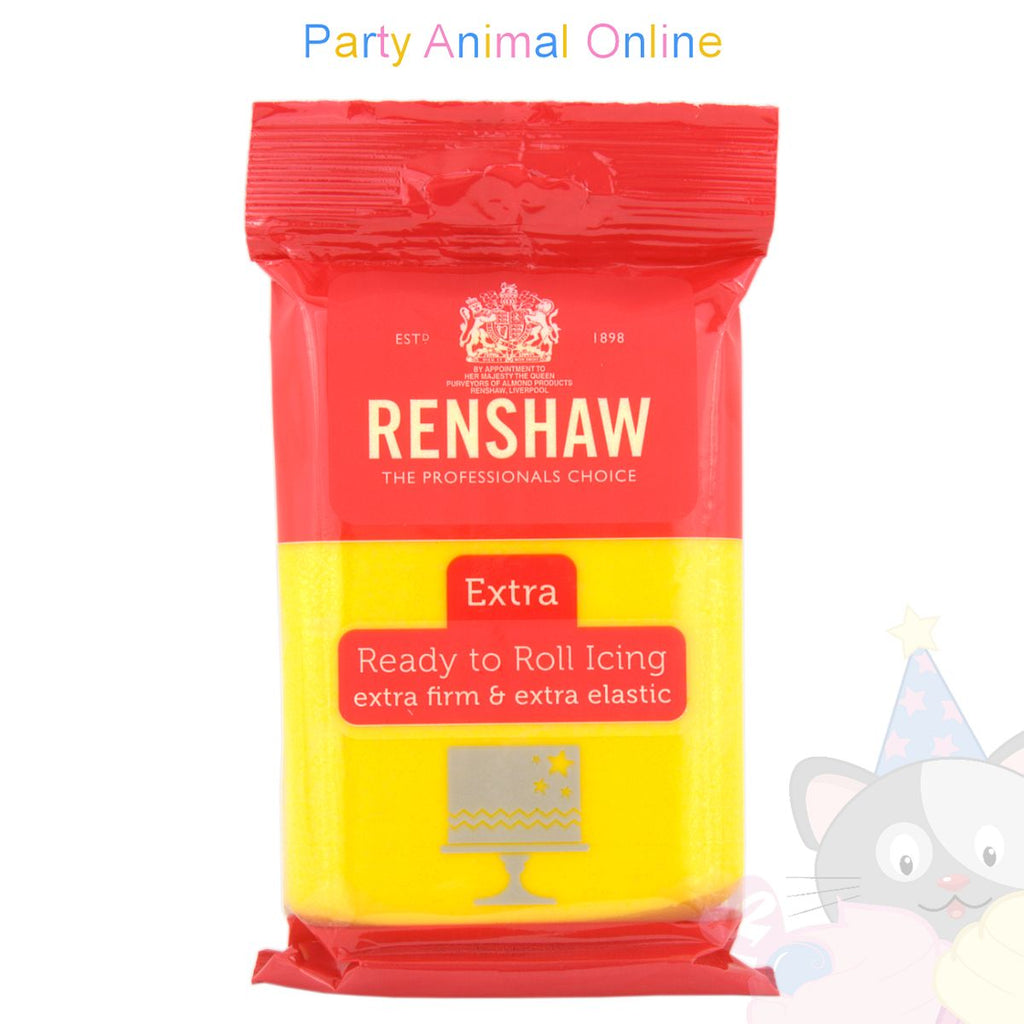 Renshaw 250grm, yellow extra, ready to roll sugarpaste icing, partyanimalonline,image