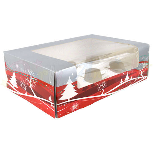 Christmas Cupcake Box - Holds 6 Cupcakes