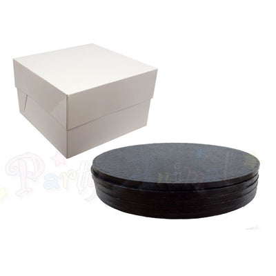 ROUND Drum Cake Board and Box Set - 5 Pack - BLACK DRUM - Choose Size