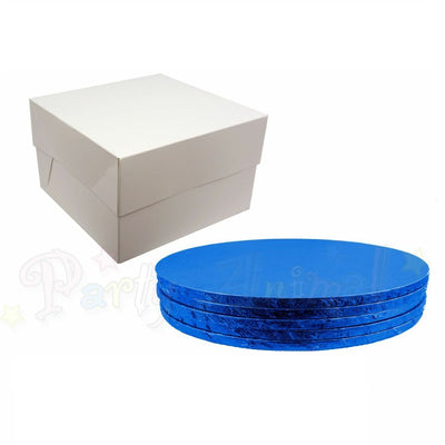 ROUND Drum Cake Board and Box Set - 5 Pack - DARK BLUE DRUM - Choose Size