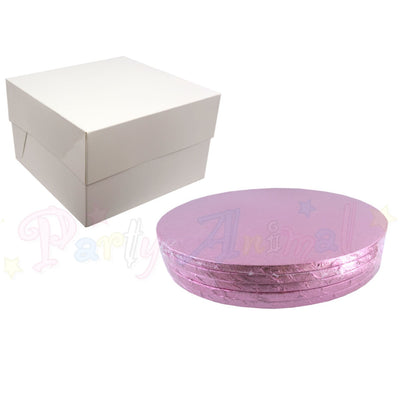 ROUND Drum Cake Board and Box Set - 5 Pack - PALE PINK DRUM - Choose Size