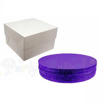 ROUND Drum Cake Board and Box Set - 5 Pack - PURPLE DRUM - Choose Size