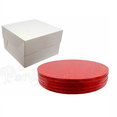 ROUND Drum Cake Board and Box Set - 5 Pack - RED DRUM - Choose Size