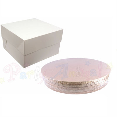 ROUND Drum Cake Board and Box Set - 5 Pack - ROSE GOLD DRUM - Choose Size