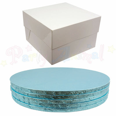 ROUND Drum Cake Board and Box Set - 5 Pack - LIGHT BLUE DRUM - Choose Size