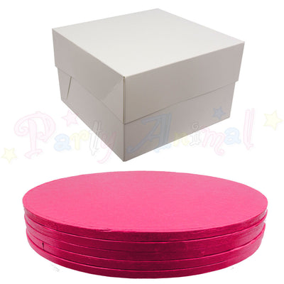 ROUND Drum Cake Board and Box Set - 5 Pack - CERISE DRUM - Choose Size
