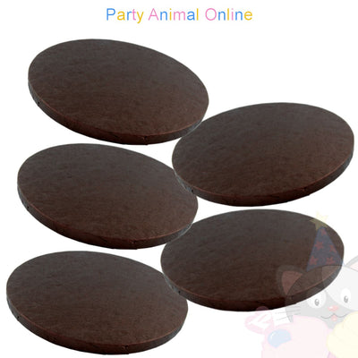 ROUND Drum Cake Board - Brown Foil - Pack of 5 - Choose Size