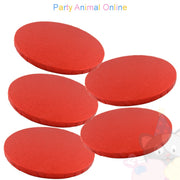 ROUND Drum Cake Board - Red Foil - Pack of 5 - Choose Size
