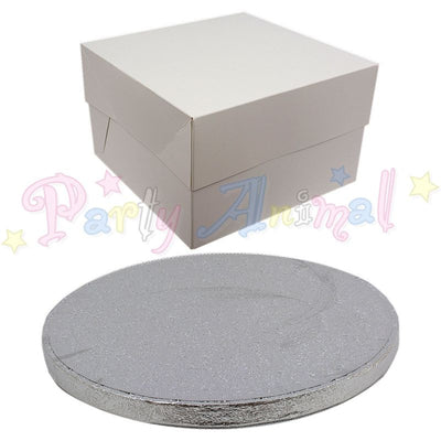 ROUND Drum Cake Board and Box Set - SILVER Drum - Choose Size
