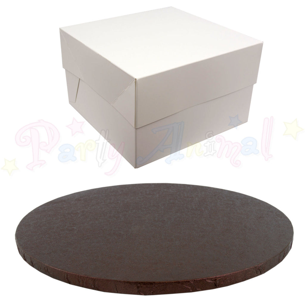"ROUND Drum Cake Board and Box Set - 10"" (254mm) Brown Foil"