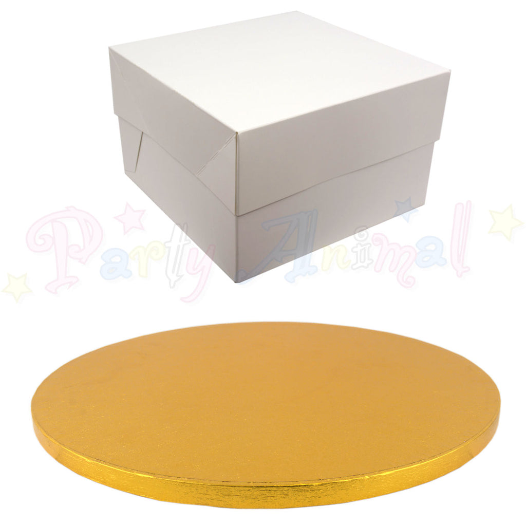 ROUND Drum Cake Board and Box Set - GOLD Drum - Choose Size