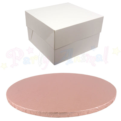 ROUND Drum Cake Board and Box Set - ROSE GOLD Drum - Choose Size