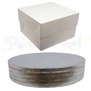 ROUND Drum Cake Board and Box Set - SILVER - Pack of 5 - Choose Size