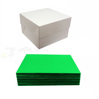SQUARE Drum Cake Board and Box Set - 5 Pack - GREEN DRUM - Choose Size