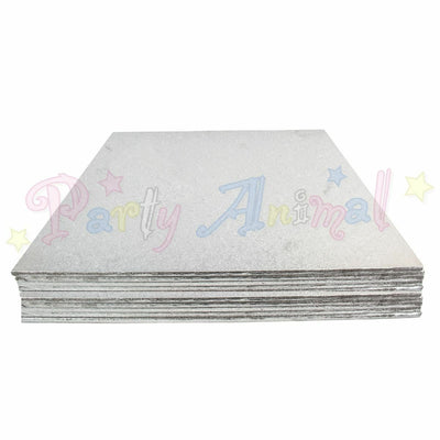 SQUARE Hardboard Cake Board - Silver Foil - PACK OF 10 - Choose Size