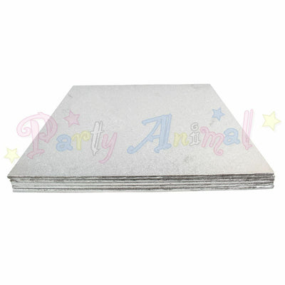 SQUARE Hardboard Cake Board - Silver Foil - PACK OF 5 - Choose Size