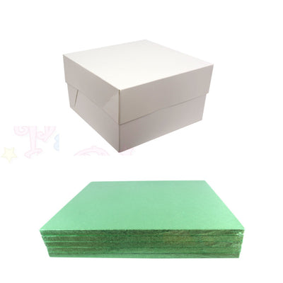 SQUARE Drum Cake Board and Box Set - 5 Pack - PALE GREEN DRUM - Choose Size