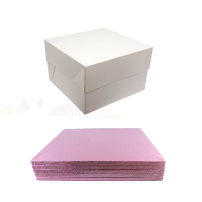 SQUARE Drum Cake Board and Box Set - 5 Pack - PALE PINK DRUM - Choose Size
