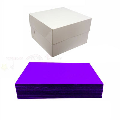 SQUARE Drum Cake Board and Box Set - 5 Pack - PURPLE DRUM - Choose Size