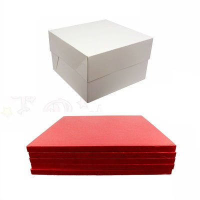SQUARE Drum Cake Board and Box Set - 5 Pack - RED DRUM - Choose Size