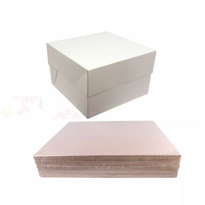 SQUARE Drum Cake Board and Box Set - 5 Pack - ROSE GOLD DRUM - Choose Size