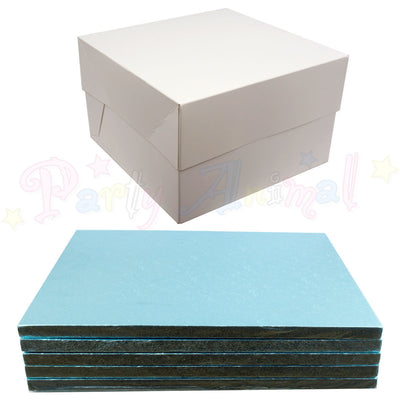 SQUARE Drum Cake Board and Box Set - 5 Pack - LIGHT BLUE DRUM - Choose Size