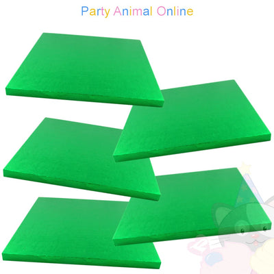 SQUARE Drum Cake Board - Green Foil - Pack of 5 - Choose Size