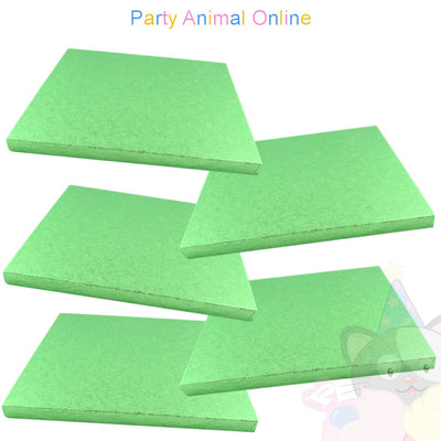 SQUARE Drum Cake Board - Pale Green Foil - Pack of 5 - Choose Size