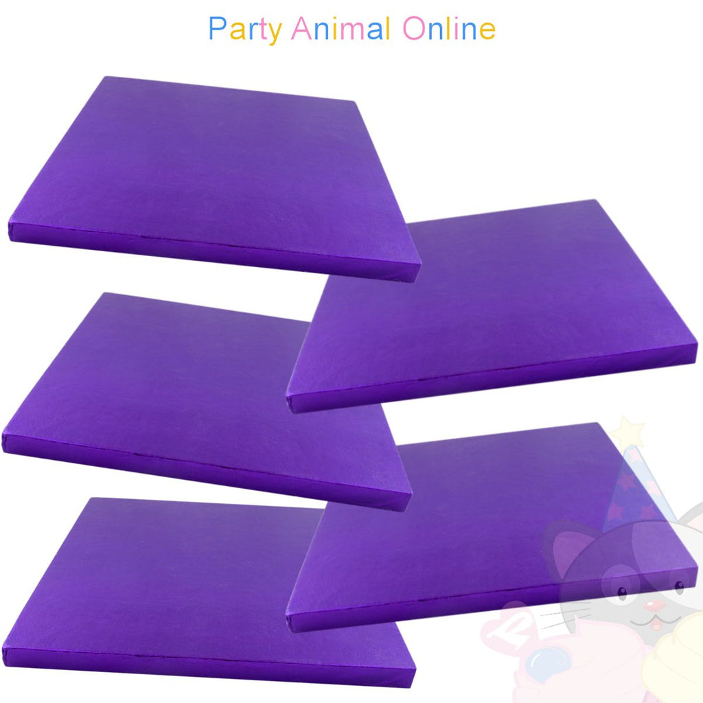SQUARE Drum Cake Board - Purple Foil - Pack of 5 - Choose Size