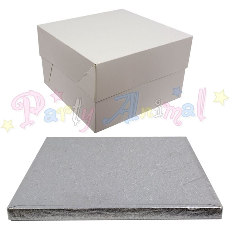 SQUARE Drum Cake Board and Box Set - SILVER Drum - Choose Size