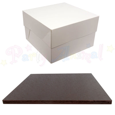 SQUARE Drum Cake Board and Box Set - BROWN Drum - Choose Size