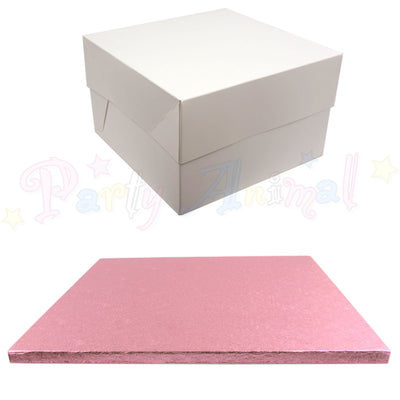 SQUARE Drum Cake Board and Box Set - PALE PINK Drum - Choose Size