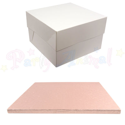 SQUARE Drum Cake Board and Box Set - ROSE GOLD Drum - Choose Size