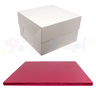 SQUARE Drum Cake Board and Box Set - CERISE PINK - Choose Size
