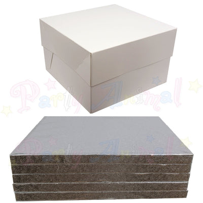 SQUARE Drum Cake Board and Box Set - SILVER - Pack of 5 - Choose Size