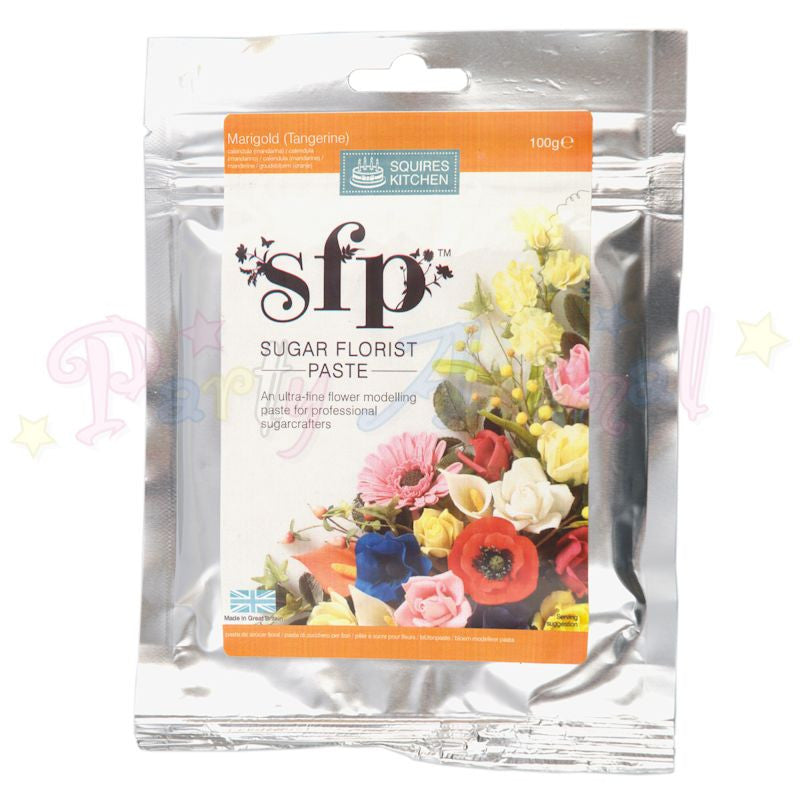 Squires Kitchen Sugar Flower Paste SFP - Marigold Yellow/ Orange 100g