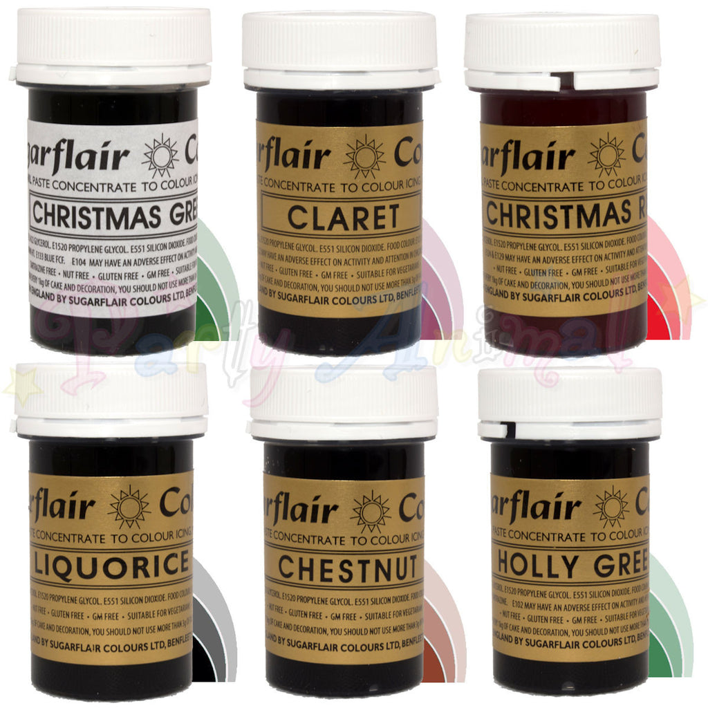 Sugarflair PASTE / GEL Food Colours - CHRISTMAS SET of 6