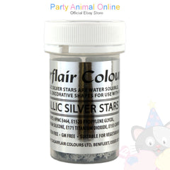 Sugarflair - Edible Decorative Shapes - Metallic Silver Stars