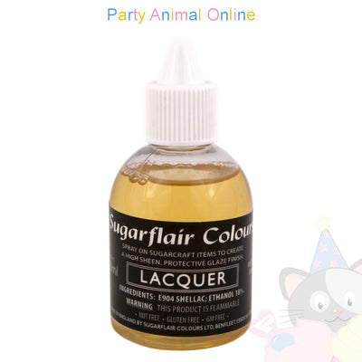 Sugarflair Laquer for adding glaze to edible products. Designed to be used with airbrushes.