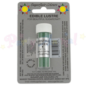 Sugarflair Edible Lustre Dusts CHRISTMAS GREEN Food Colour Powder