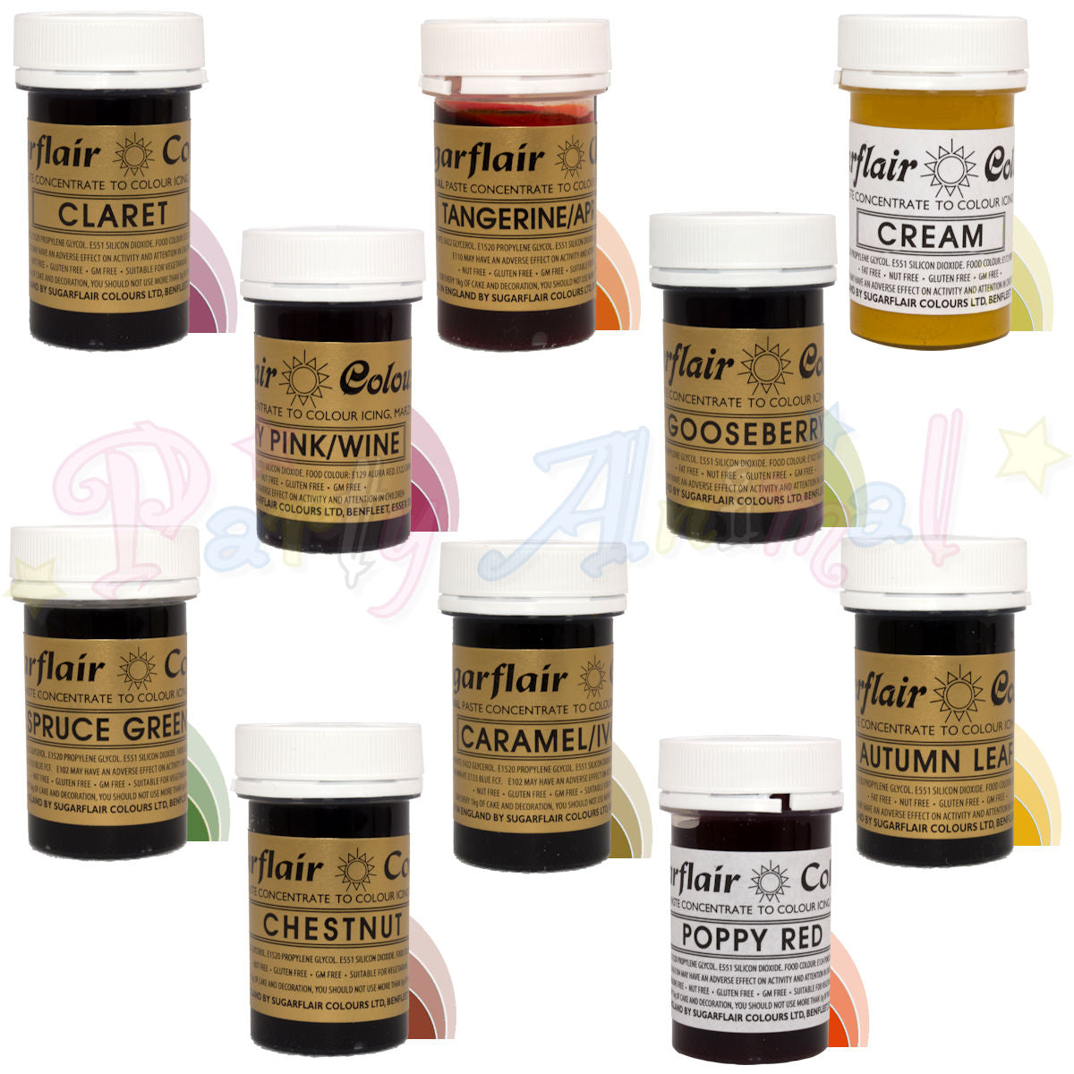Sugarflair PASTE / GEL Food Colours - AUTUMN - Set of 10