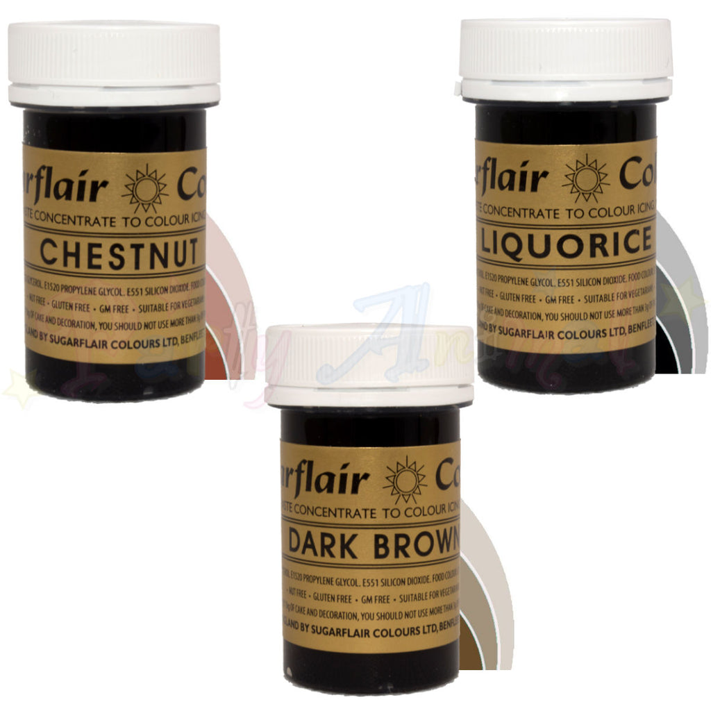 Sugarflair PASTE / GEL Food Colours - DARK SET Set of 3