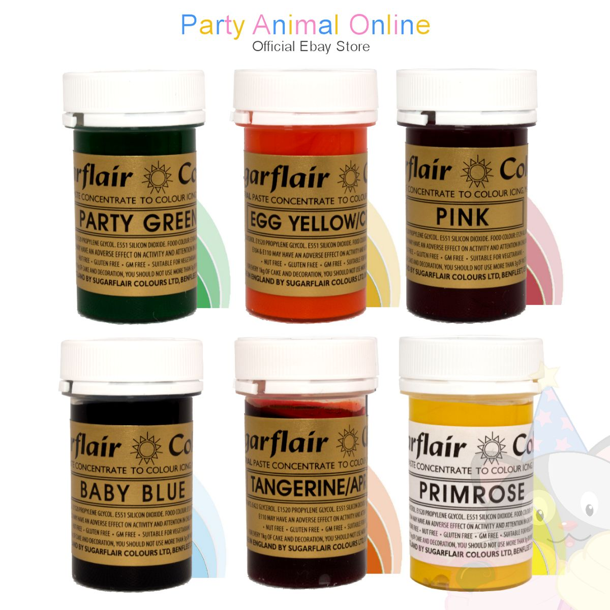Sugarflair PASTE / GEL Food Colours - EASTER SET of 6