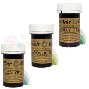 Sugarflair PASTE / GEL Food Colours - FOLIAGE Set of 3