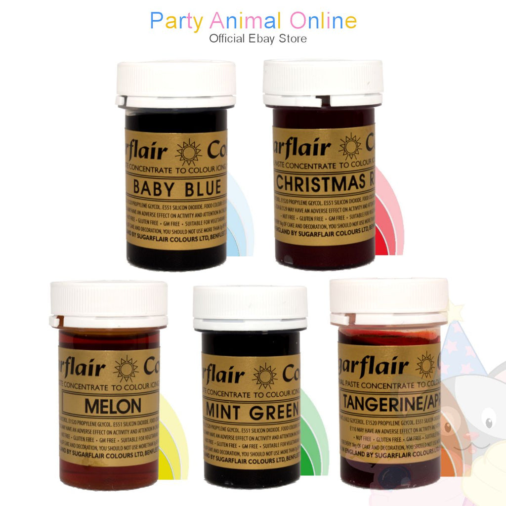 Sugarflair PASTE / GEL Food Colours - Set of 5 FRUITY COLOURS